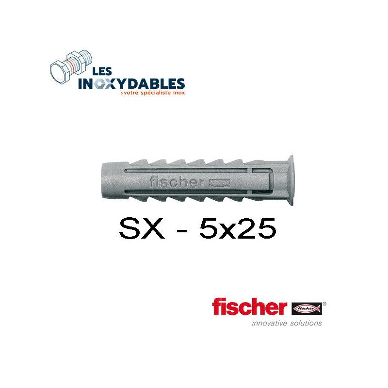 Pack 50 - chevilles expansion nylon Fischer SX - 5x25