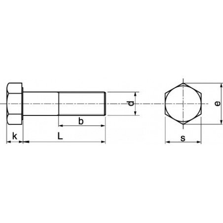 "Vis tête hexagonal - ""TH"" - Filetage partiel- DIN 931 - INOX A4"