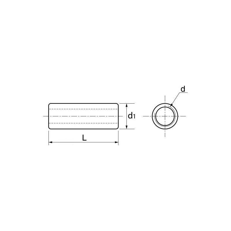 Manchon cylindrique taraudé pour tige fileté - INOX A4