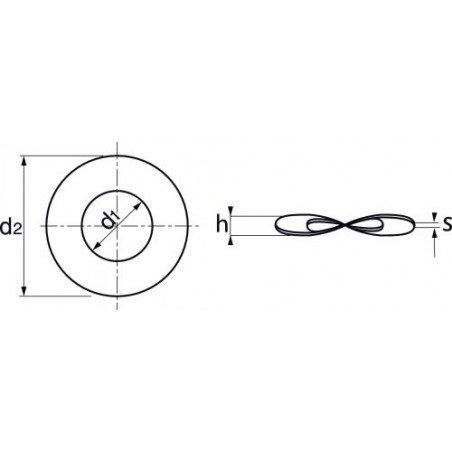 Rondelle INOX A4  élastique ondulée  forme B  selon norme   DIN 137 B