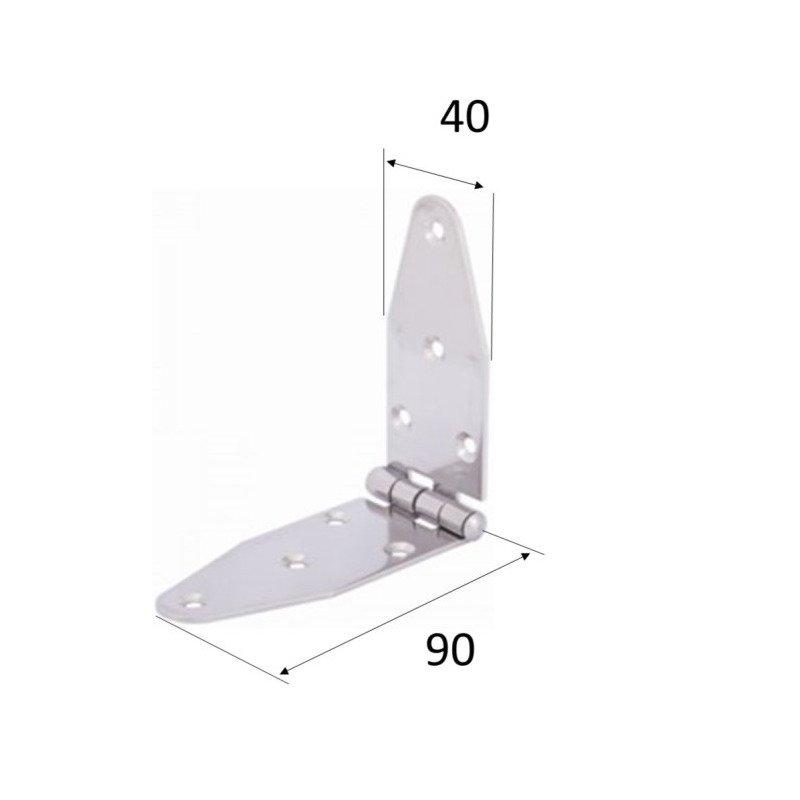 Charnière longue égale - INOX A4 MARINE 180 x 40 x 2