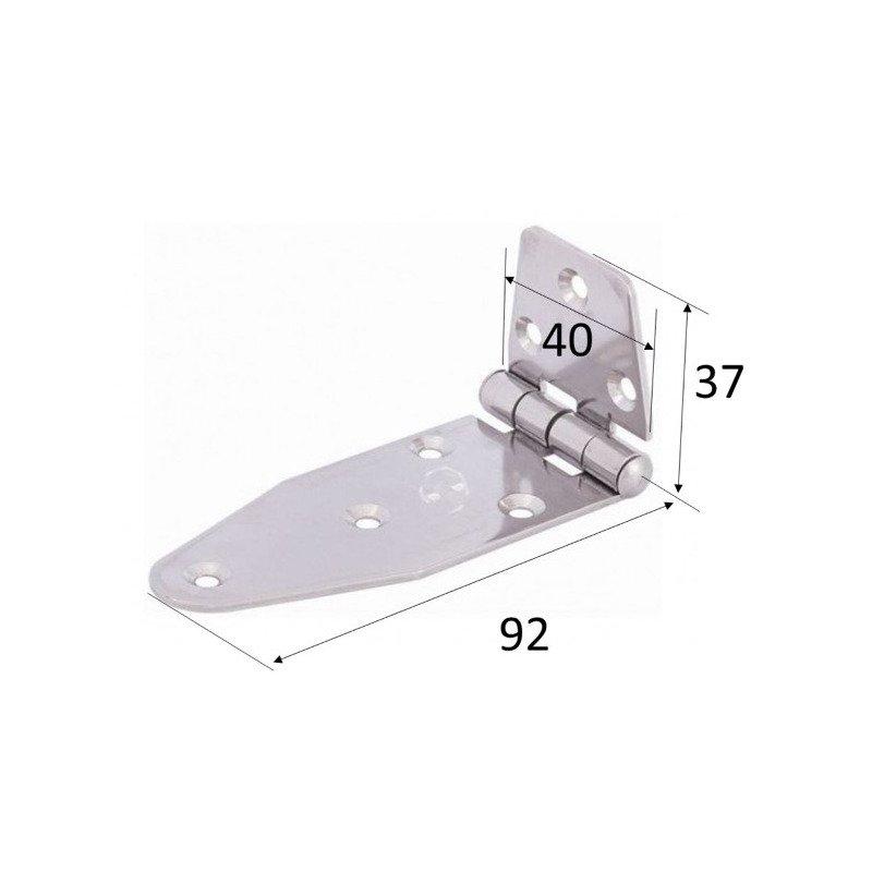 Charnière longue inégale  - INOX A4 MARINE 130 x 40 x 2