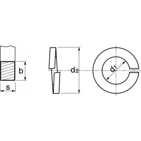 Rondelle frein Grower INOX A4  selon norme  DIN 127  type W
