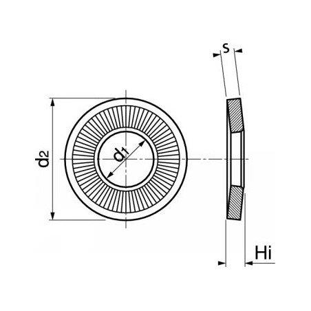 Rondelle contact striée moyenne - INOX A2