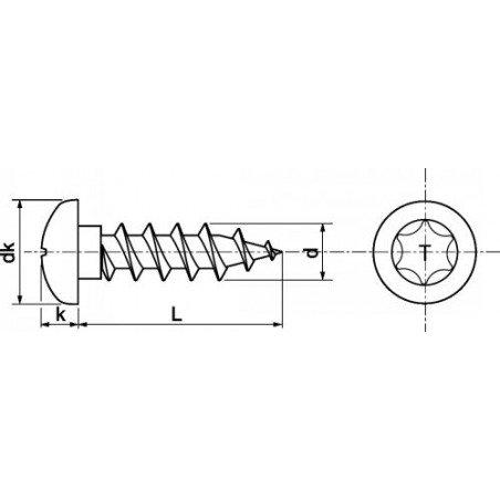 Vis a bois INOX A2 tête cylindrique empreinte TORX ( 6 lobes )  type TC