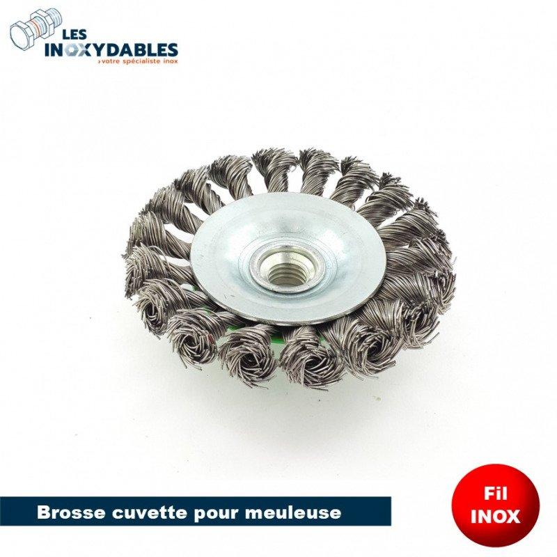 Brosse cuvette pour meuleuse diam 95mm - Fil inox torsadé