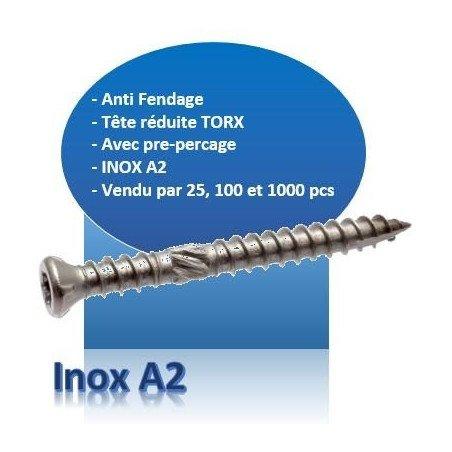 Vis terrasse - tête fraisée réduite - TF - INOX A2