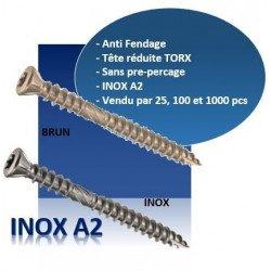 Vis terrasse - tête fraisée réduite - TF - INOX A2 - couleur INOX / BRUN
