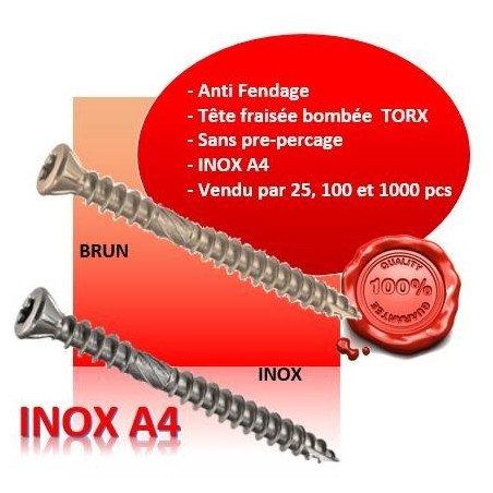 Vis terrasse - tête fraisée bombée - TFB - INOX A4
