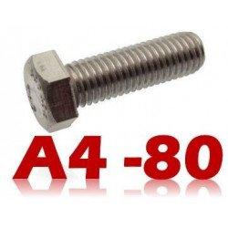Vis tête hexagonale INOX A4-80 filetage total DIN 933 type THEF