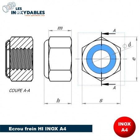 Ecrou frein Nylstop INOX A4 - bague nylon - Din 985