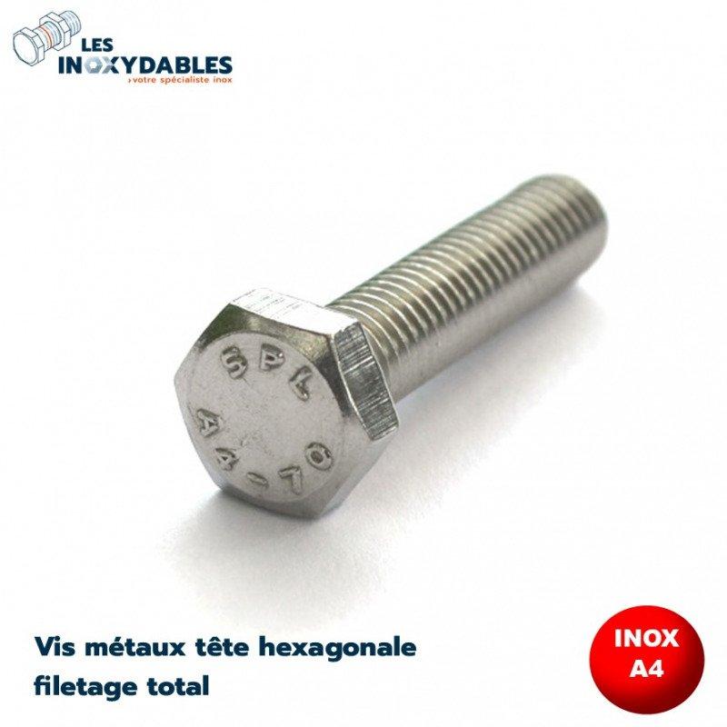 Vis métaux tête hexagonale INOX A4 filetage total - DIN 933