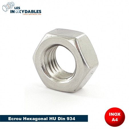 Ecrou Hexagonal INOX A4 - DIN 934 Type HU