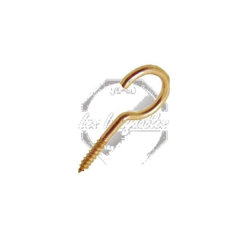 Crochet d'armoire filetage bois - LAITON
