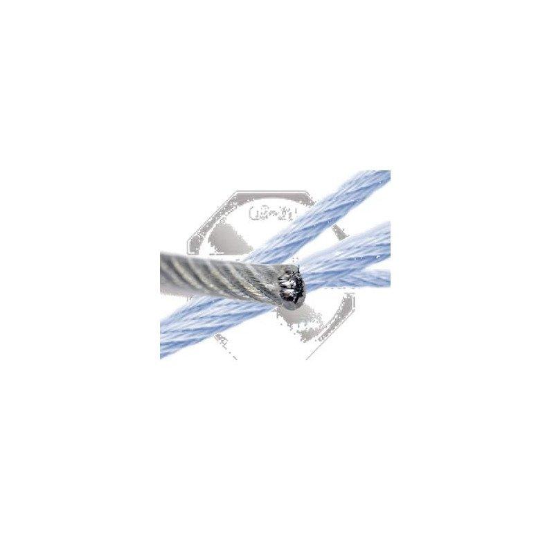 Cable souple gainé pvc translucide - 7X7 - 7 Torons/  7 Fils - INOX A4