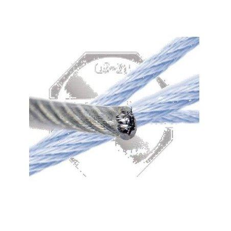 Câble INOX A4 7 x 7 - souple gaine pvc translucide - 7 fils 7 torons