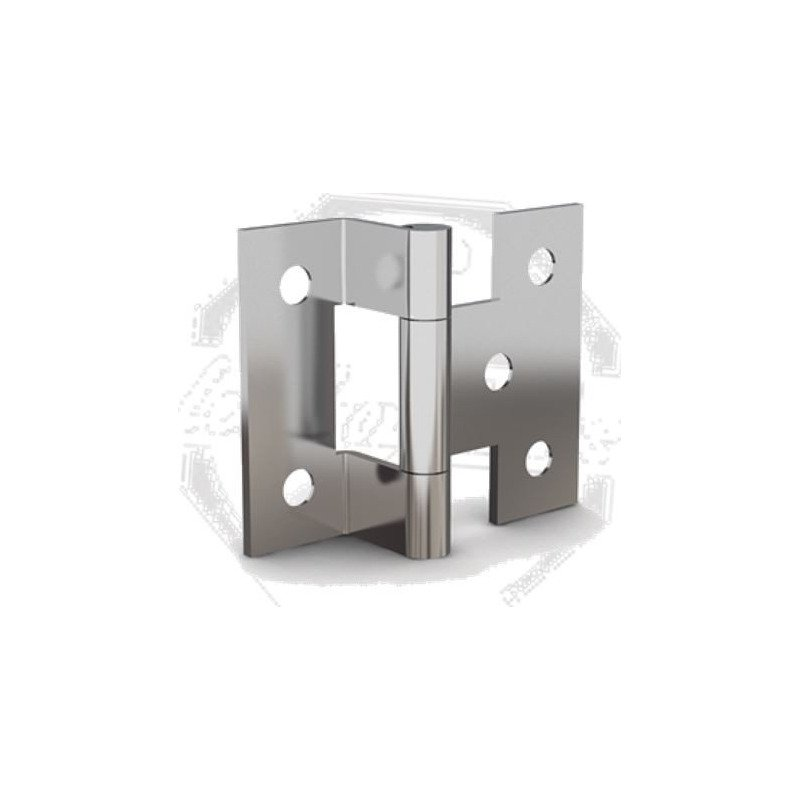 Charnière simple equerre - 1 aile cambrée - INOX A4 MARINE