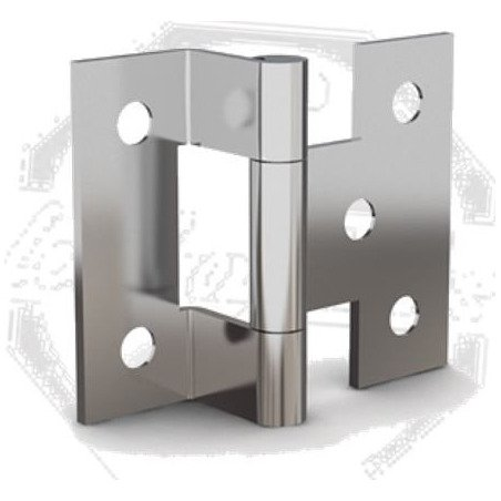 Charnière simple equerre - 1 aile cambrée - INOX A4 MARINE - 31 X 38 mm