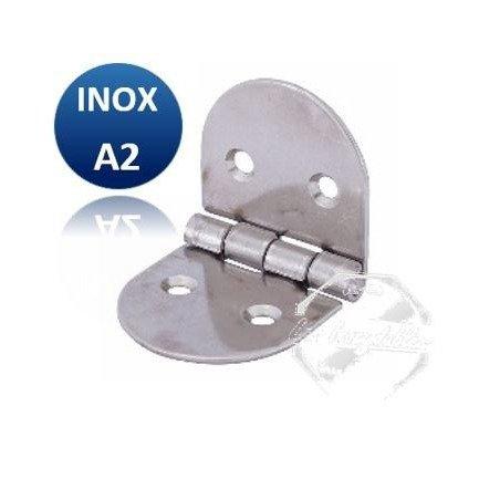 Charnière ronde égale - INOX A2 75 x 40