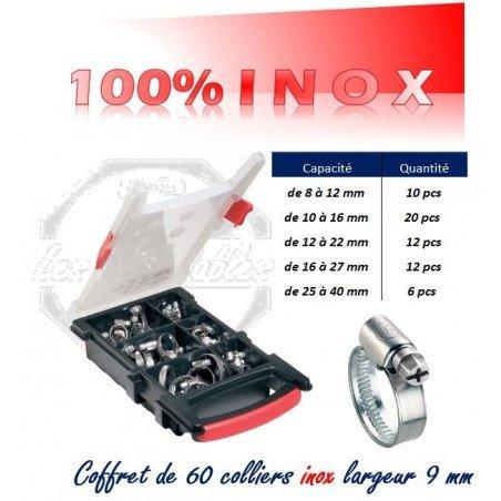 Coffret de 60 colliers bande pleine -INOX W4