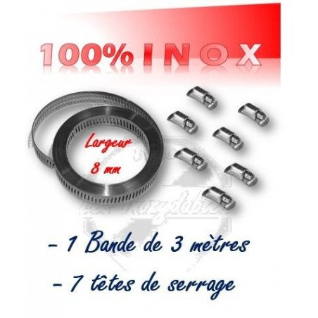 collier de serrage en bande largeur 8mm x 3 mètres + 7 têtes de serrage 100% INOX