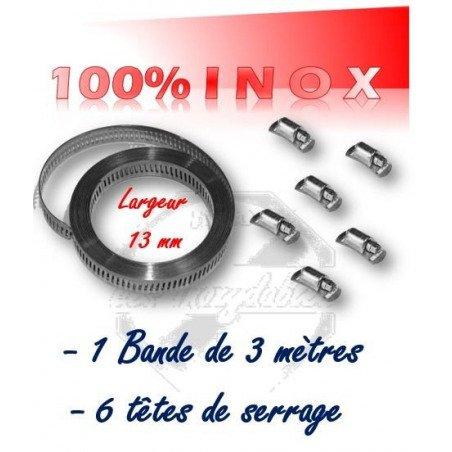 collier de serrage en bande largeur 13 mm x 3 mètres + 6 têtes de serrage 100% INOX