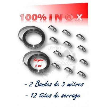 collier de serrage en bande largeur 8 mm x 6 mètres + 12 têtes de serrage 100% INOX