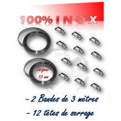 collier de serrage en bande largeur 13 mm x 6 mètres + 12 têtes de serrage 100% INOX