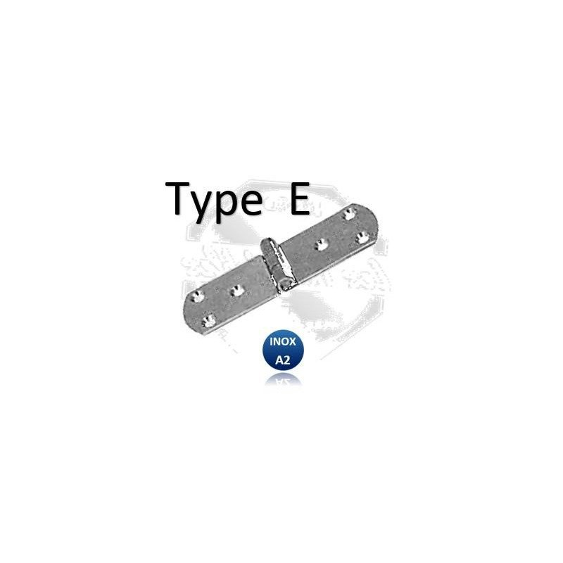 Charnière  TYPE E - 75X20 INOX A2