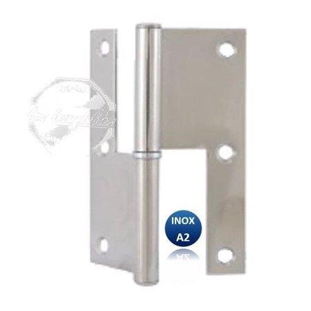 Paumelle rectangulaire - INOX A2 - Epaisseur 2 mm