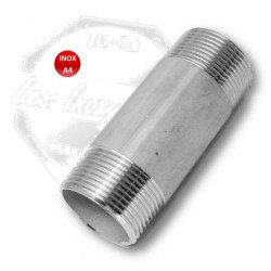 Mamelon mâle long - INOX A4 - Longueur 100 mm fileteé male