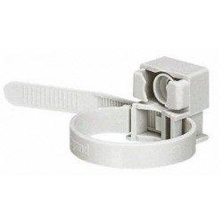 Collier à embase gris RAL7035 à denture extérieure pour tube IRL Ø16mm à Ø32mm ou câble Ø13 à Ø38mm