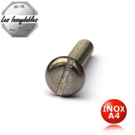 Vis métaux INOX A4 tête cylindrique LARGE fendue DIN 85 Type TCL