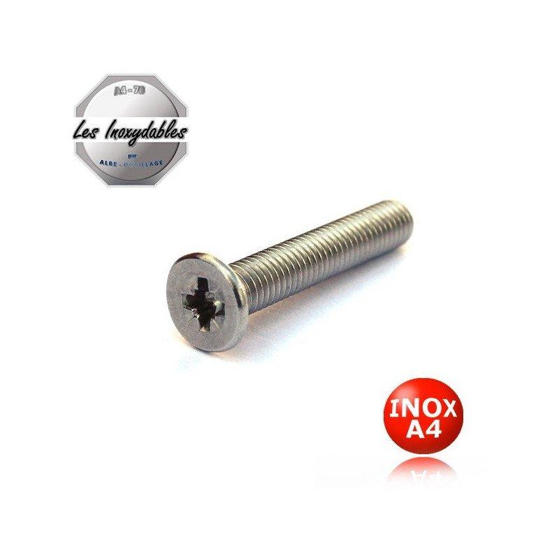 "Vis métaux  ""TF"" Tête fraisée pozidrive - DIN 965 - INOX A4"