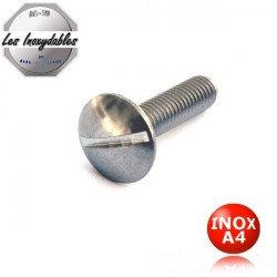 Vis métaux poelier INOX A4 tête ronde large Type TRL