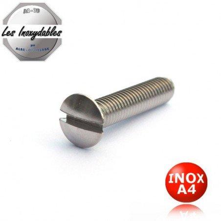 Vis métaux INOX A4 tête fraisée bombée fendue DIN 964 Type TFB