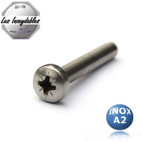 Vis métaux INOX A2 tête cylindrique empreinte pozidrive DIN 7985 Type TCPZ