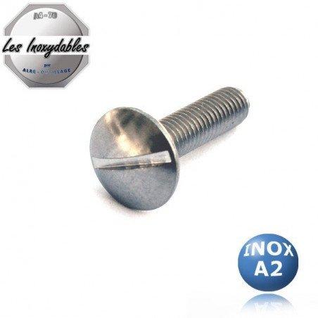 Vis métaux poelier INOX A2 - TRL - tête ronde large fendue