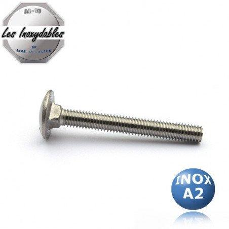 """Vis metaux - Tête ronde collet carré  """"TRCC"""" -  DIN 603 - INOX A2"""