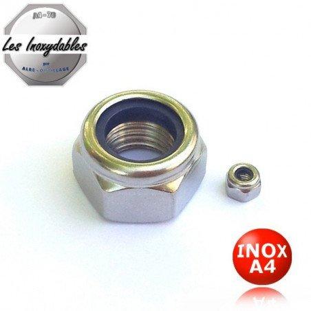 Ecrou frein INOX A4 - bague nylon nylstop - din 985 type HI