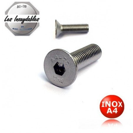 Vis métaux INOX A4 - tête fraisée 6 pans creux Din 7991 Type TFHC