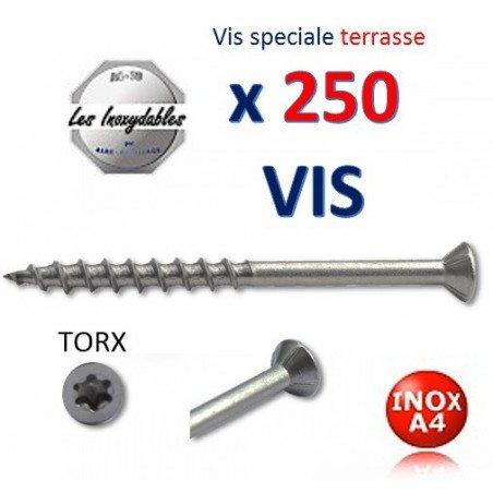 Pack de 250 Vis Terrasse Inox A4 - tête fraisé torx - 4,2 x56 / 30 TORX 25 - type TF6L