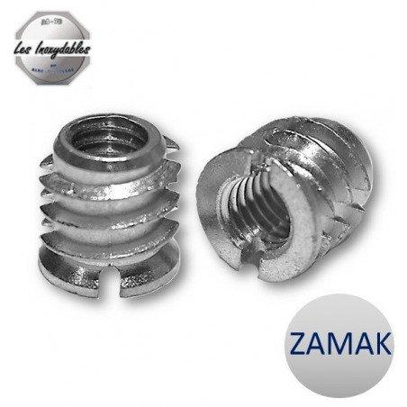 Insert fileté bois ZAMAK - taraudé filetage metrique pour vis de 6 mm