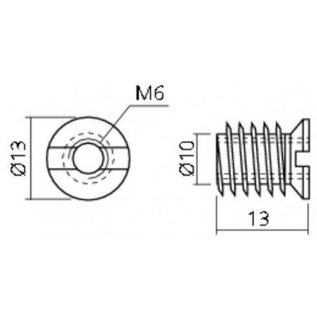 Insert fileté bois  INOX A2 - taraudé filetage metrique diamètre 6x100
