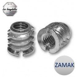 Insert fileté bois ZAMAK - taraudé filetage metrique pour vis de 8 mm