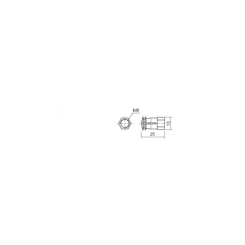 Ecrou à expansion Laiton pour vis de 6mm - 8x9
