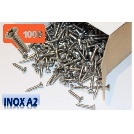 1000 Vis à tôle INOX A2 tête fraisée bombée pozidrive -3.9x19 DIN 7983 type TFB