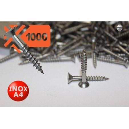 1000 Vis à bois INOX A4 D 4 X 40 - tête fraisée empreinte torx - filetage Partiel- Type TF